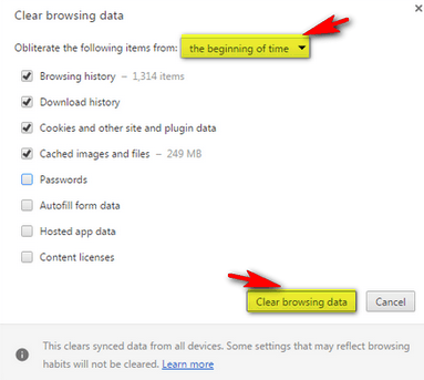 Delete All Browsing Data and Cache