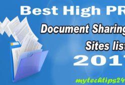 Best Document Sharing Sites List 2017 – High PR