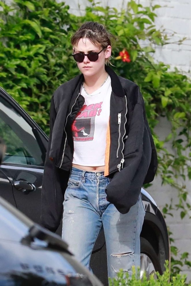 Kristen Stewart in Bomber Jacket – Leaving a spa in Los Angeles