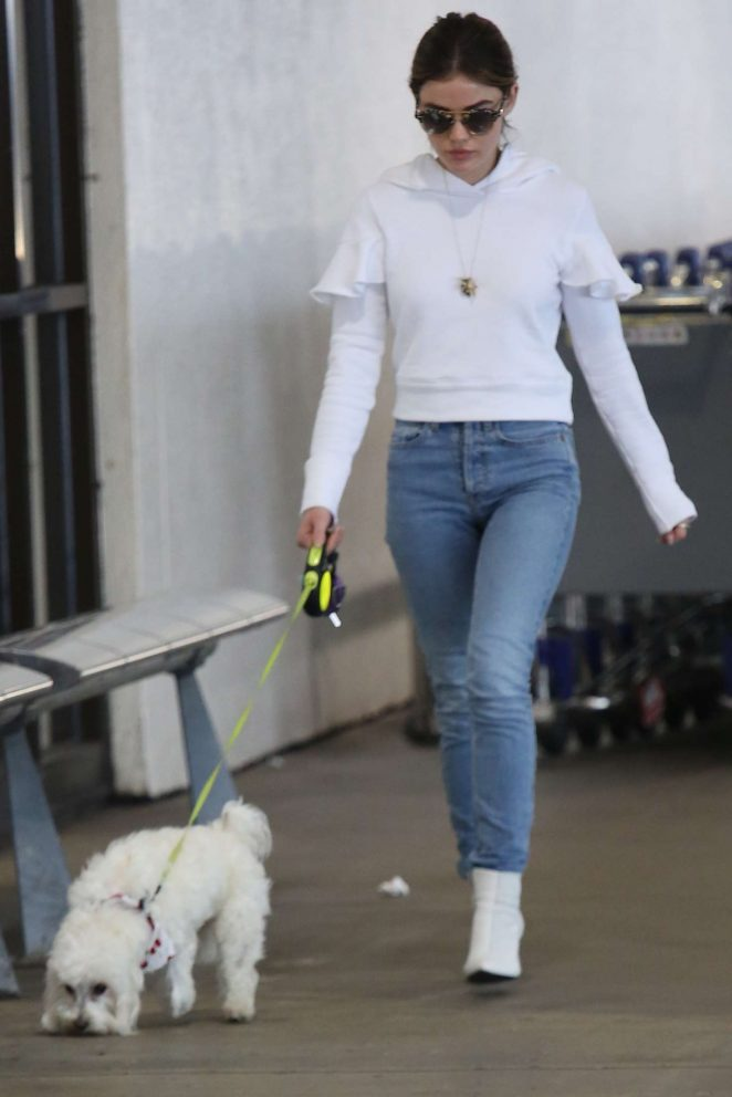 Lucy Hale in Jeans at LAX airport in Los Angeles