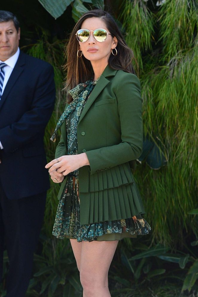 Olivia Munn in Green – Leaving a Party Honoring Eva Longoria in Beverly Hills