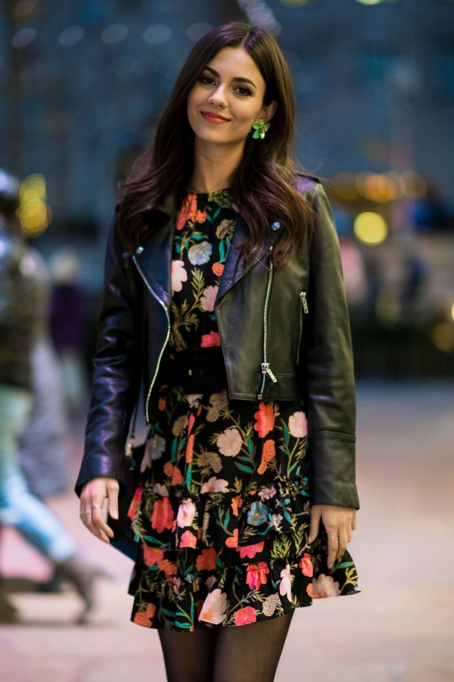 Victoria Justice in Floral Dress and Leather Jacket out in NYC