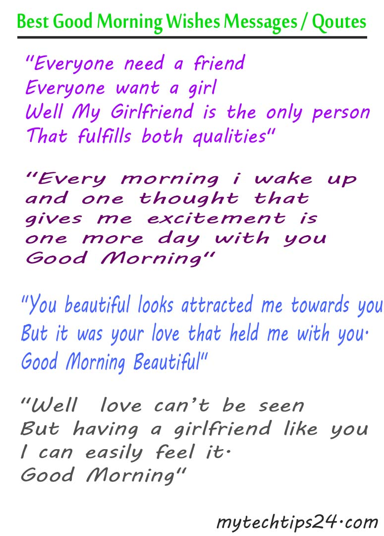 Good Morning Wishes for Girlfriend - Quotes - Messages