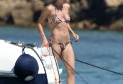 Lisa Muller in Bikini on a yacht in Porto Cervo